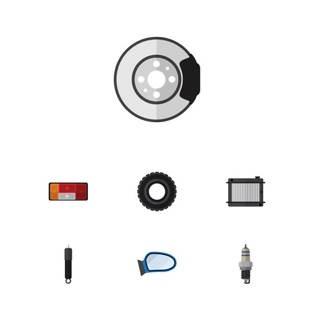 spare: Flat Component Set Of Wheel, Metal, Heater And Other Vector Objects. Also Includes Absorber, Combustion, Radiator Elements. Illustration