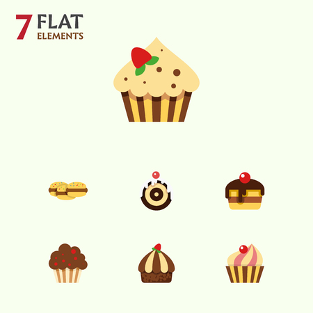 Flat Cake Set Of Sweetmeat, Cupcake, Dessert And Other Vector Objects. Also Includes Cake, Dessert, Cookie Elements.