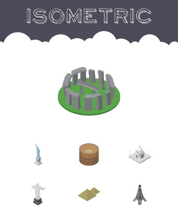 mausoleum: Isometric Travel Set Of Rio, India Mosque, England Vector Objects. Also Includes Monument, Liberty, Mahal Elements.