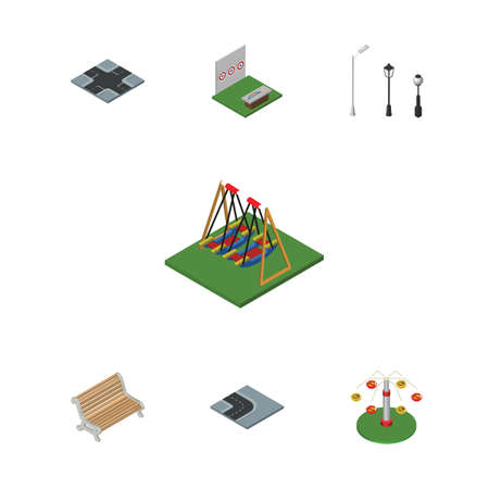 Isometric Urban Set Of Seat, Street Lanterns, Turning Road And Other Vector Objects. Also Includes Path, Intersection, Seesaw Elements.