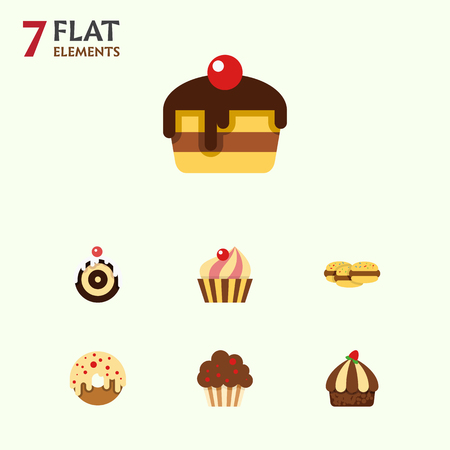 Flat Dessert; Set Of Biscuit, Sweetmeat, Pastry And Other Vector Objects. Also Includes Doughnut, Cake, Shortcake Elements. Illustration