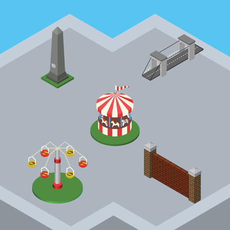 Isometric Architecture Set Of Dc Memorial, Barrier, Carousel And Other Vector Objects. Also Includes Barrier, Swing, Suspension Elements.