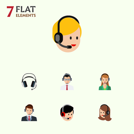 entertainment center: Flat Telemarketing Set Of Secretary, Operator, Hotline And Other Vector Objects. Also Includes Hotline, Earphone, Help Elements. Illustration