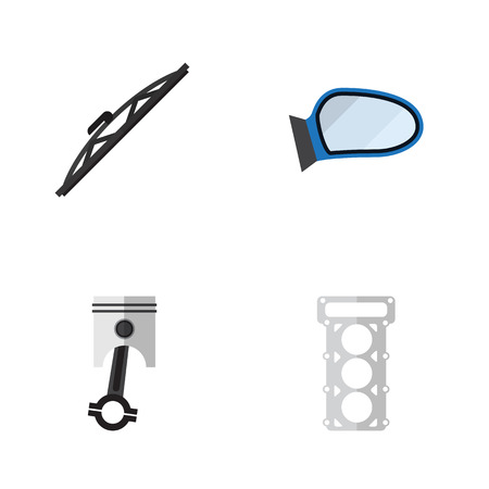 rearview: Flat Component Set Of Packing, Conrod, Auto Component And Other Vector Objects. Also Includes Conrod, Packing, Gasket Elements. Illustration