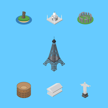 Isometric Architecture Set Of Athens, Rio, India Mosque And Other Vector Objects. Also Includes Athens, Redeemer, Museum Elements.