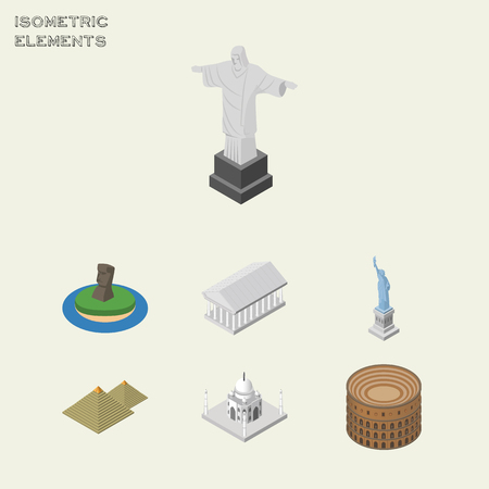 Isometric Attraction Set Of India Mosque, Coliseum, New York And Other Vector Objects. Also Includes Mahal, Liberty, Taj Elements.