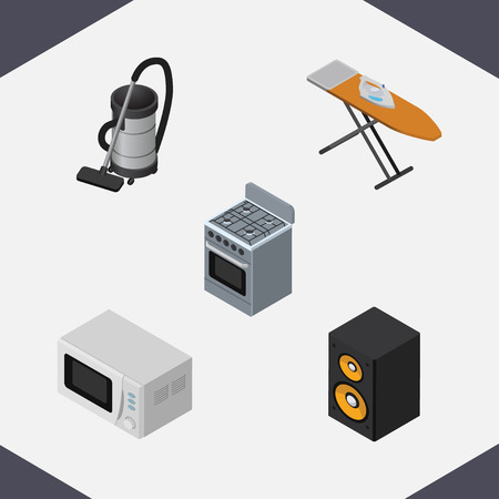 vac: Isometric Technology Set Of Music Box, Stove, Vac And Other Vector Objects. Also Includes Vac, Cleaner, Microwave Elements.