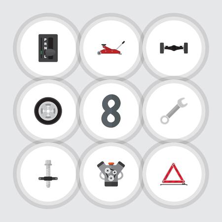 リフティングのフラット自動セット、タイヤ、スパナ、他はベクトル オブジェクトです。引き手、車輪、モーターの要素も含まれています。