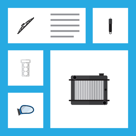Flat Component Set Of Packing, Auto Component, Windshield And Other Vector Objects. Also Includes Mirror, Packing, Auto Elements. Illustration