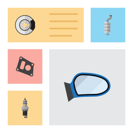 gasket: Flat Component Set Of Auto Component, Silencer, Metal And Other Vector Objects. Also Includes Brake, Gasket, Car Elements. Illustration