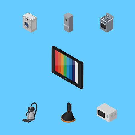 Isometric Device Set Of Laundry, Stove, Kitchen Fridge And Other Vector Objects. Also Includes Cleaner, Vac, Refrigerator Elements. Illustration