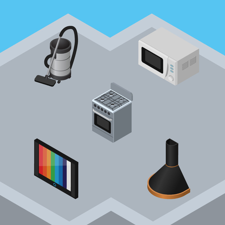 vac: Isometric Device Set Of Air Extractor, Television, Vac And Other Vector Objects. Also Includes Hood, Stove, Cooker Elements.