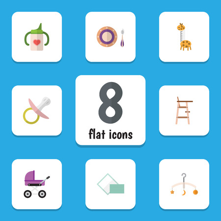 Flat Baby Set Of Mobile, Napkin, Child Chair And Other Vector Objects. Also Includes Bottle, Pacifier, Stool Elements.