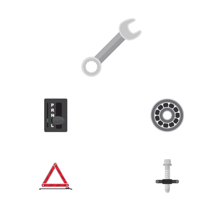 Flat Workshop Set Of Warning, Spanner, Brake Disk And Other Vector Objects. Also Includes Stop, Automatic, Block Elements. Illusztráció