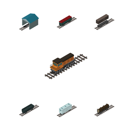 depot: Isometric Transport Set Of Delivery Tank, Carbon Railway Container, Lumber Shipping And Other Vector Objects. Also Includes Carriage, Wagon, Railway Elements.