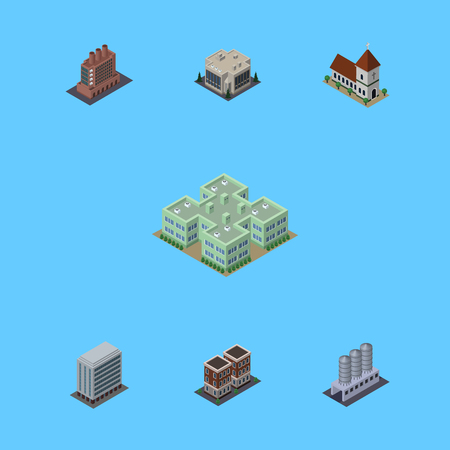 Isometric Architecture Set Of Water Storage, Industry, House And Other Vector Objects. Also Includes House, Company, Hospital Elements.