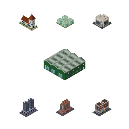 depot: Isometric Urban Set Of Company, Industry, Chapel And Other Vector Objects. Also Includes Chapel, Skyscraper, Warehouse Elements. Illustration