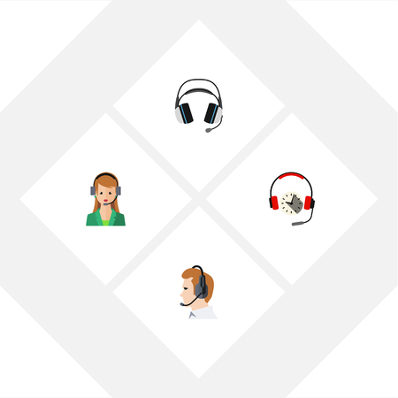 Flat Hotline Set Of Secretary, Headphone, Earphone And Other Vector Objects. Also Includes Human, Support, Online Elements. Illustration