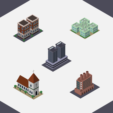 depot: Isometric Building Set Of Clinic, House, Tower And Other Vector Objects. Also Includes Building, Catholic, Chapel Elements.