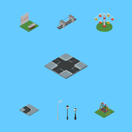 Isometric Architecture Set Of Aiming Game, Swing Attraction, Intersection And Other Vector Objects. Also Includes Suspension, Game, Swing Elements.
