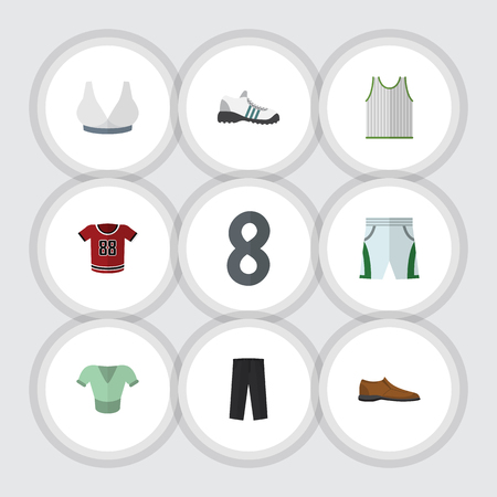 Flat Clothes Set Of Male Footware, Casual, Pants And Other Vector Objects. Also Includes Pants, Blouse, Trousers Elements. Illustration