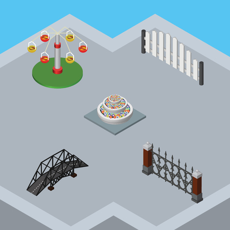 Isometric Architecture Set Of Expressway, Swing Attraction, Plants And Other Vector Objects. Also Includes Highway, Swing, Wooden Elements.