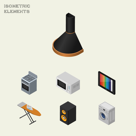 Isometric Electronics Set Of Microwave, Television, Laundry And Other Vector Objects. Also Includes Television, Laundry, Ironing Elements.