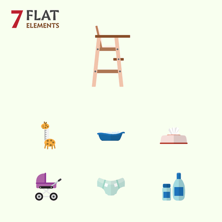 incontinence: Flat Infant Set Of Nappy, Tissue, Bathtub And Other Vector Objects. Also Includes Baby, Tissue, Nappy Elements.