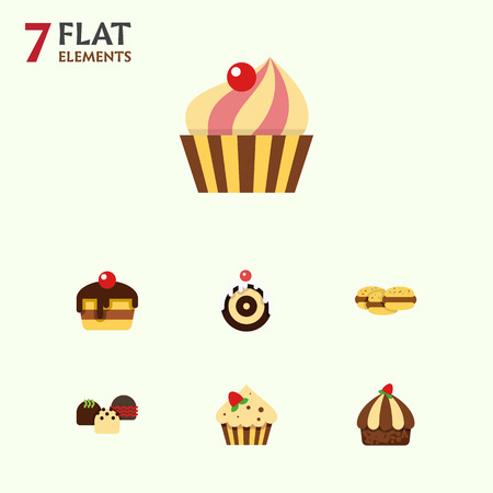 Flat Cake Set Of Cake, Sweetmeat, Biscuit And Other Vector Objects. Also Includes Sweetmeat, Cookie, Dessert Elements.