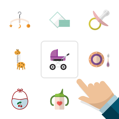 nursing bottle: Flat Baby Set Of Nursing Bottle, Pinafore, Stroller And Other Vector Objects. Also Includes Napkin, Tissue, Mobile Elements.