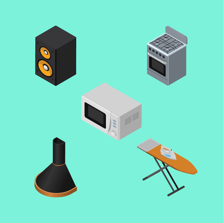 Isometric Electronics Set Of Air Extractor, Microwave, Music Box And Other Vector Objects. Also Includes Hood, Music, Extractor Elements. Illustration