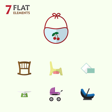 balance sheet: Flat Baby Set Of Children Scales, Infant Cot, Toilet And Other Vector Objects. Also Includes Pinafore, Cradle, Child Elements.