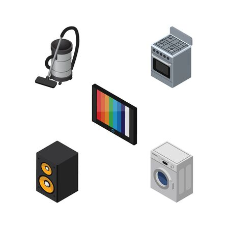 vac: Isometric Device Set Of Stove, Vac, Television And Other Vector Objects. Also Includes Cleaner, Device, Kitchen Elements.