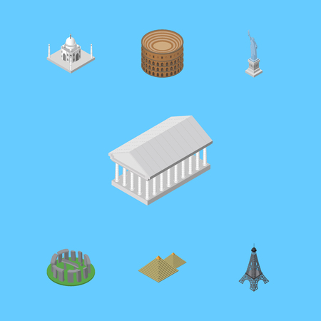 Isometric Architecture Set Of Egypt , Coliseum, England Vector Objects. Also Includes Pyramids, Athens, Historic Elements.
