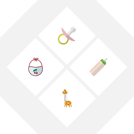camelopard: Flat Kid Set Of Pinafore, Feeder, Toy And Other Vector Objects. Also Includes Giraffe, Pacifier, Baby Elements.