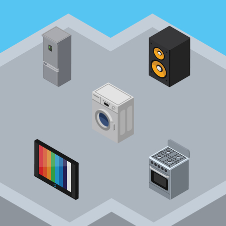 household goods: Isometric Technology Set Of Music Box, Television, Kitchen Fridge And Other Vector Objects. Also Includes Washing, Box, Loudspeaker Elements.