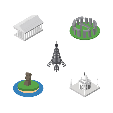 Isometric Architecture Set Of Paris, Chile, Athens And Other Vector Objects. Also Includes Paris, Acropolis, Stonehenge Elements.