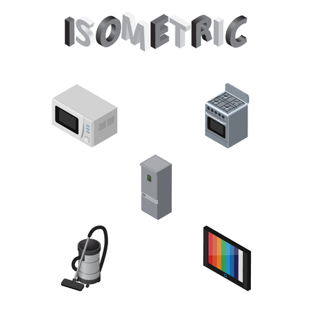vac: Isometric Appliance Set Of Stove, Vac, Microwave And Other Vector Objects. Also Includes Tv, Refrigerator, Device Elements.