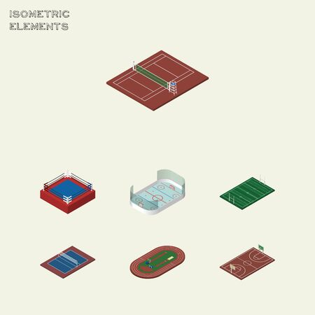 ko: Isometric Training Set Of B-Ball, Fighting, Ice Games And Other Vector Objects. Also Includes Ice, B-Ball, Field Elements.