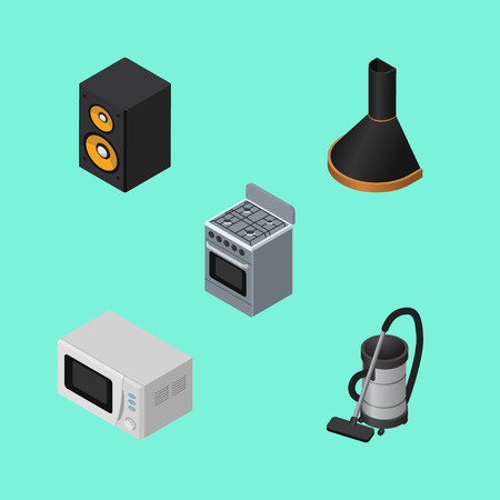 speakers: Isometric Electronics Set Of Microwave, Stove, Vac And Other Vector Objects. Also Includes Cooker, Cleaner, Box Elements.