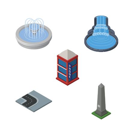 Isometric Architecture Set Of Park Decoration, Turning Road, Garden Decor And Other Vector Objects. Also Includes Monument, Water, Telephone Elements.