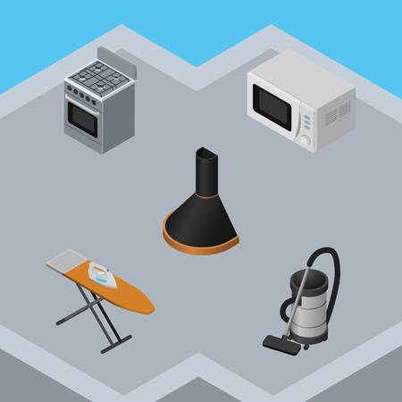 Isometric Technology Set Of Vac, Air Extractor, Cloth Iron And Other Vector Objects. Also Includes Hood, Kitchen, Extractor Elements. Illustration