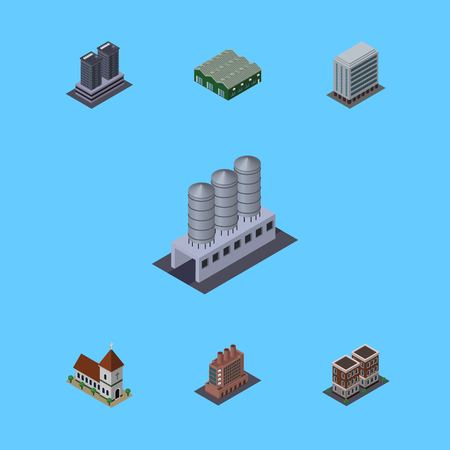 Isometric Building Set Of Tower, Office, Warehouse And Other Vector Objects. Also Includes Warehouse, Firm, Home Elements.