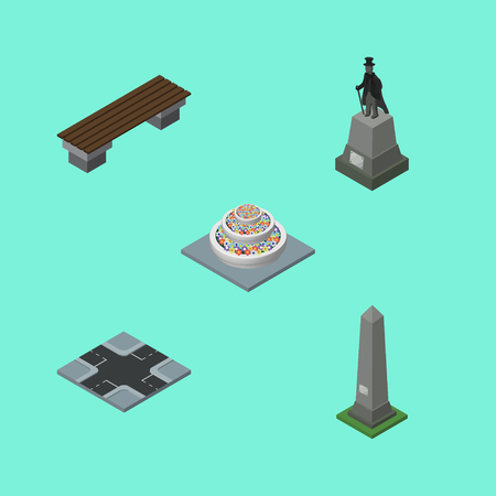 Isometric Street Set Of Bench, Intersection, Dc Memorial And Other Vector Objects. Also Includes Washington, Bench, Monument Elements.
