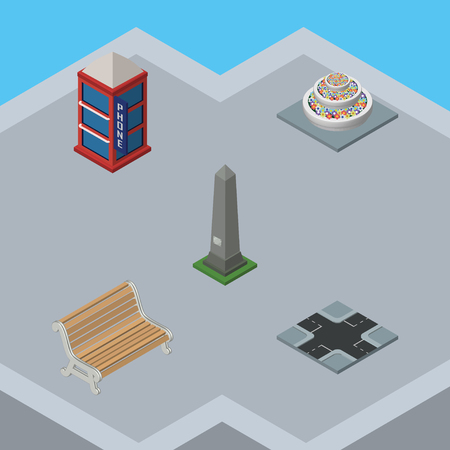 Isometric City Set Of Phone Box, Dc Memorial, Seat And Other Vector Objects. Also Includes Flowers, Intersection, Washington Elements.