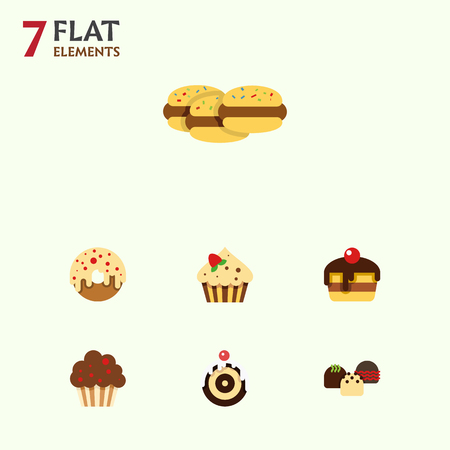 patisserie: Flat Dessert; Set Of Pastry, Muffin, Biscuit And Other Vector Objects. Also Includes Shortcake, Delicious, Cupcake Elements.