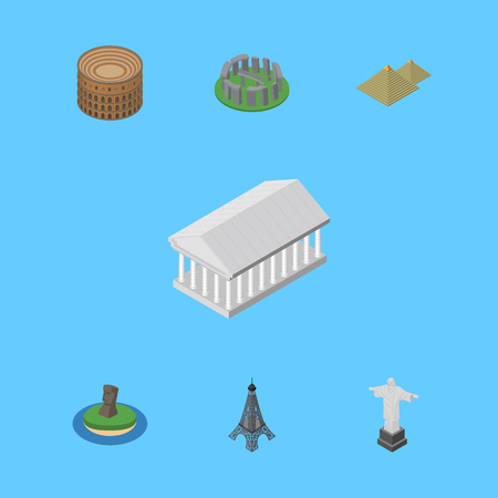 Isometric Cities Set Of England, Egypt , Coliseum Vector Objects. Also Includes Paris, Attraction, Egypt Elements.