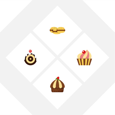 Flat Dessert; Set Of Pastry, Sweetmeat, Biscuit And Other Vector Objects. Also Includes Confectionery, Muffin, Shortcake Elements.