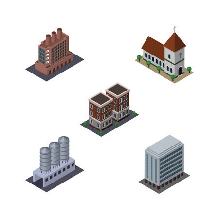 Isometric Construction Set Of Chapel, Office, Industry And Other Vector Objects.
