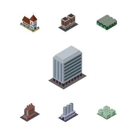 steeple: Isometric Urban Set Of Warehouse, Clinic, Office And Other Vector Objects. Also Includes Chapel, Factory, Tank Elements.